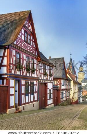 Straat Duitsland huizen oude binnenstad nacht gebouw Stockfoto © borisb17