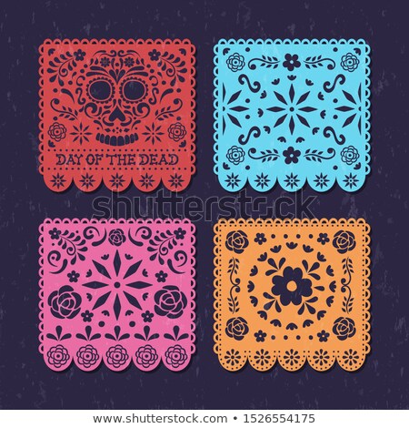 Day of the dead papercut mexican skull banner Stock photo © cienpies