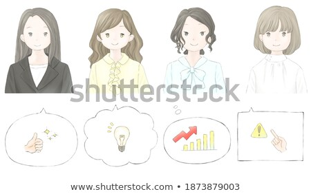 simple suit business woman_pointing hand sign Stock photo © toyotoyo
