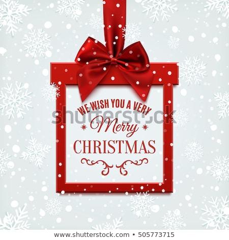 Stock fotó: Karácsony · keret · íj · fenyő · ágak · fagyöngy