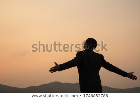 portré · boldog · férfi · karok · a · magasban · fehér · stúdiófelvétel - stock fotó © andreypopov