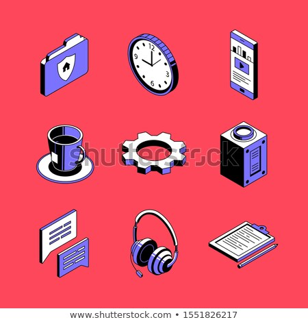 Distance working - colorful vector isometric icons set Stock photo © Decorwithme