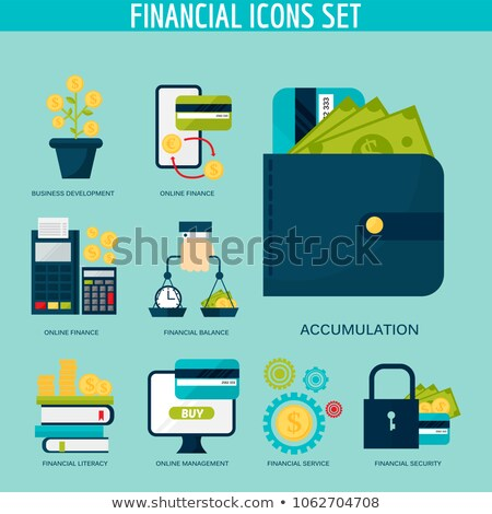 Financial literacy flat vector illustrations set Stock photo © RAStudio