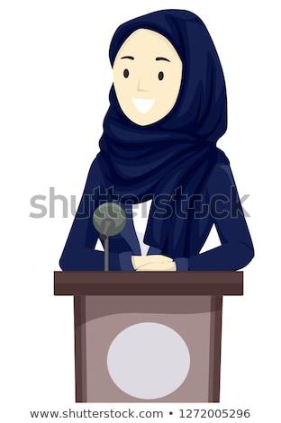 Menina hijab negócio alto-falante Catar ilustração Foto stock © lenm