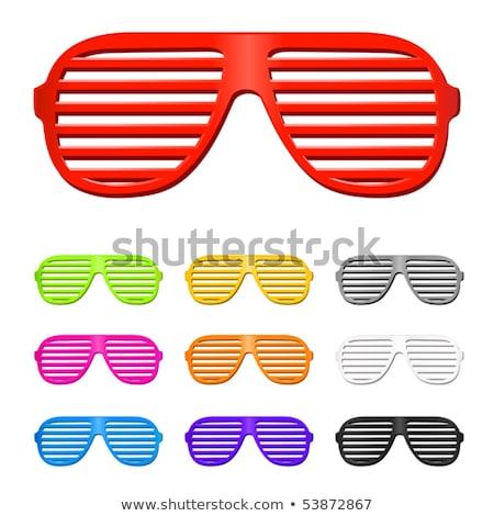 Rood sluiter bril houten tafel mode ontwerp Stockfoto © boggy