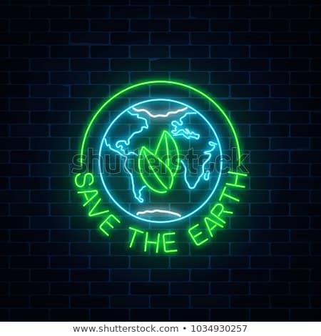 Globalny recyklingu neon ekologia promocji charakter Zdjęcia stock © Anna_leni