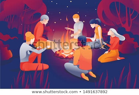 Cartoon touristic campfire with burning firewood Stock photo © LoopAll