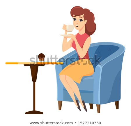 Female with Mug and Brownie in Coffeehouse Vector Stock photo © robuart
