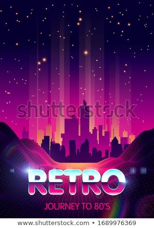 Retro Futuristic Landscape with Mountains and Laser Rays. Stock photo © tashatuvango