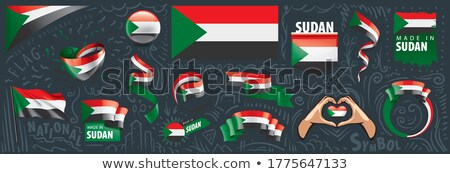 Vector set of the national flag of Sudan in various creative designs Stock photo © butenkow