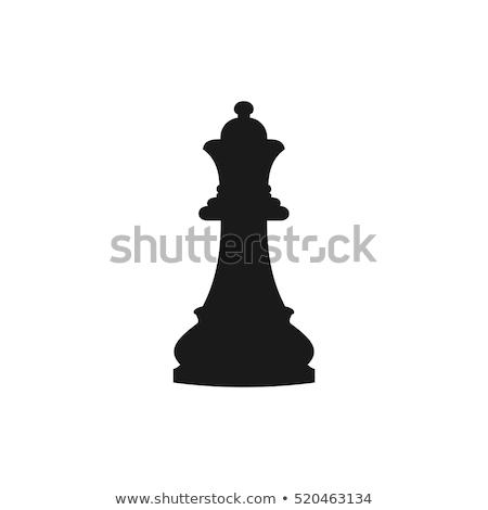 простой черный королева шахматам икона тень Сток-фото © evgeny89