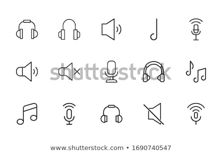 Fejhallgató hang ikon vektor skicc illusztráció Stock fotó © pikepicture