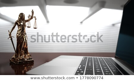 Lady justice statue with a notebook in the office. 3d illustrati Stock photo © limbi007