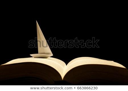 kicsi · fából · készült · vitorlás · hajó · citromsárga · játék · vitorlázik - stock fotó © foka
