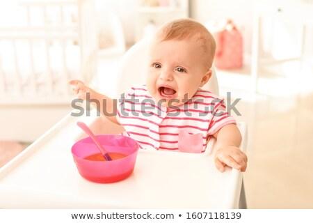 weinig · baby · hoog · stoel · portret · asian - stockfoto © kenishirotie