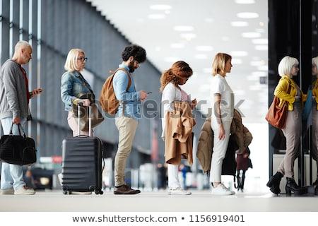 pasajeros · aeropuerto · seguridad · comprobar · hombre · vacaciones - foto stock © elenaphoto