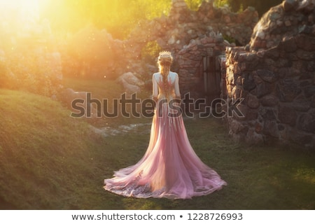 attractive blond girl in gown at the castle Stock photo © fotoduki