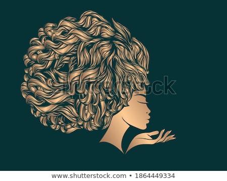 sylwetka · szalik · dziewczyna · moda · cień - zdjęcia stock © glyph