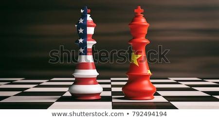 USA · Chiny · banderą · mieszany · trójwymiarowy · oddać - zdjęcia stock © devon