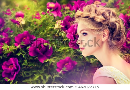mooie · jonge · model · park · slank · brunette - stockfoto © lithian