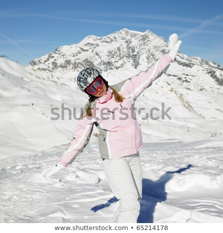 Mulher esquiador alpes montanhas França esportes Foto stock © phbcz