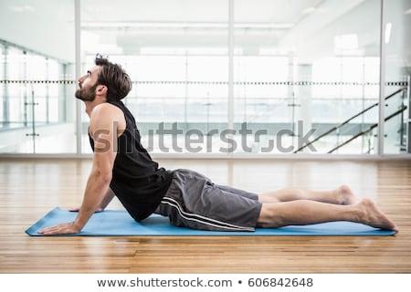 jóképű · fiatalember · jóga · póz · portré · fehér · fitnessz - stock fotó © williv