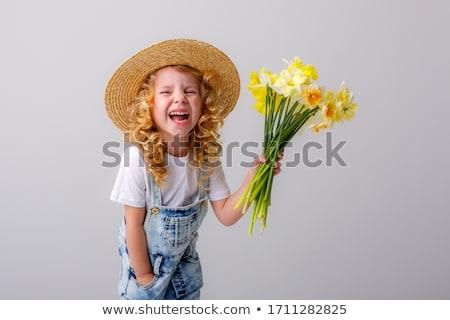 loiro · flores · da · primavera · menina · sensual · verão · rosas - foto stock © peterveiler