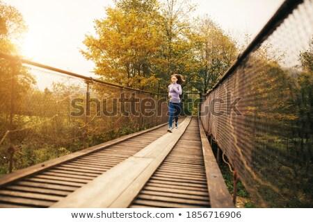 женщину висячий мост синий платье Сток-фото © peterveiler