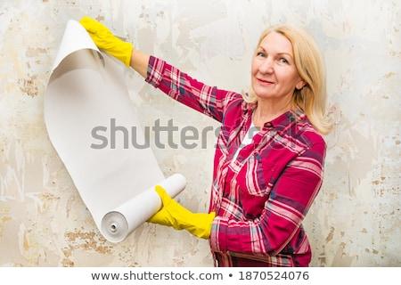 pár · tapéta · fehér · szoba · férfi · otthon - stock fotó © photography33