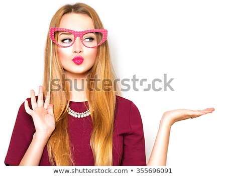 Valentines woman showing gift on white background stock photo © Ariwasabi