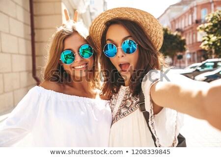 dois · bela · mulher · vestidos · retrato · moda - foto stock © Pilgrimego