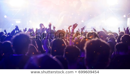 muziekfestival · menigte · silhouet · juichen · muziek · abstract - stockfoto © alex_l