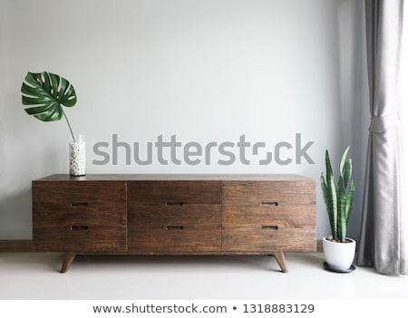Fából készült faliszekrény klasszikus fehér fa háttér Stock fotó © Witthaya