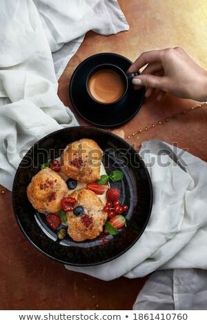 Geleneksel pasta hizmet kahvaltı İtalya Stok fotoğraf © pixelmemoirs