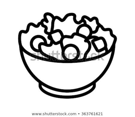 Leafy green salad, tomato and bread stock photo © veralub