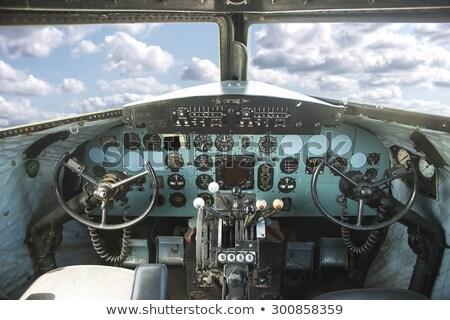 Oude vliegtuig cockpit detail venster Blauw Stockfoto © Witthaya