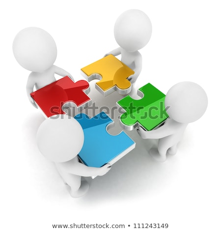 3d small people   team with the puzzles stock fotó © anatolym