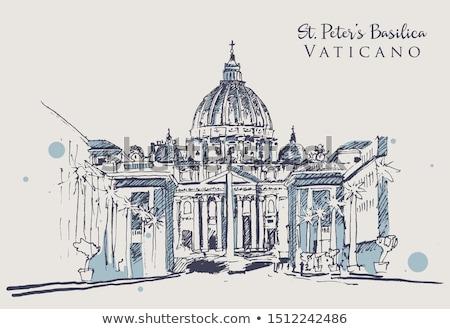 Watykan szkic obraz budynku tle Zdjęcia stock © angelp