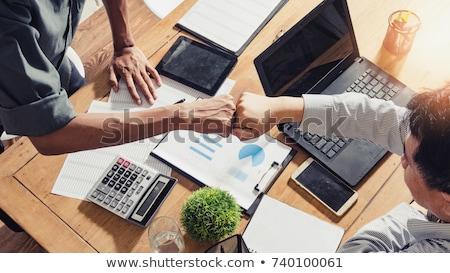 Business vuist buil vrouwelijke mannelijke zakenlieden Stockfoto © lisafx