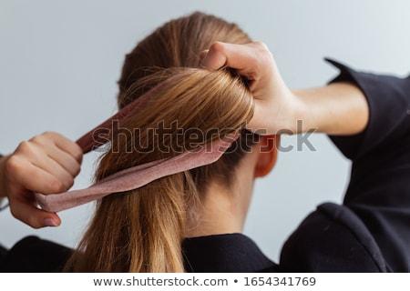 Lófarok lány feketefehér sziluett nő nők Stock fotó © dolgachov
