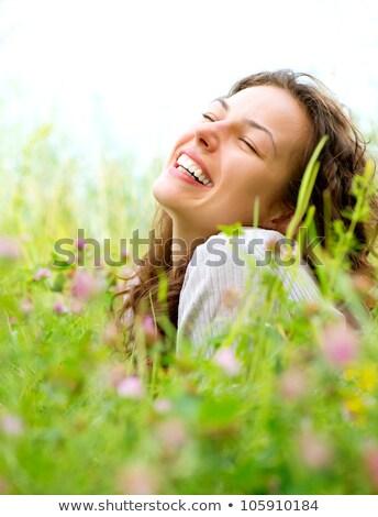 クローズアップ 肖像 小さな 女性 花 きれいな女性 ストックフォト © gromovataya