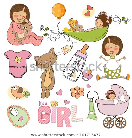new baby shower card with cat stock photo © balasoiu