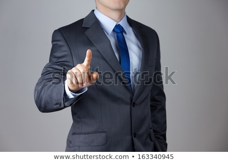 üzletember · toló · képzeletbeli · digitális · gomb · fiatal - stock fotó © feedough