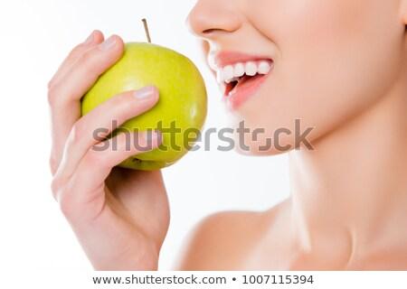 belo · mulher · jovem · verde · maçã · branco · mulher - foto stock © dash