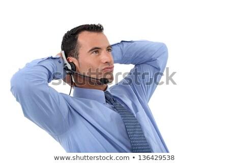 Leniwy mężczyzna działalności człowiek mikrofon Zdjęcia stock © photography33