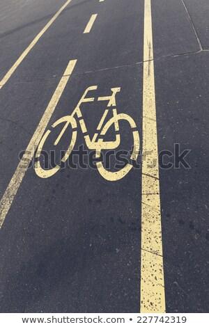 Asfalt weg Geel fiets voetganger logo Stockfoto © Nneirda