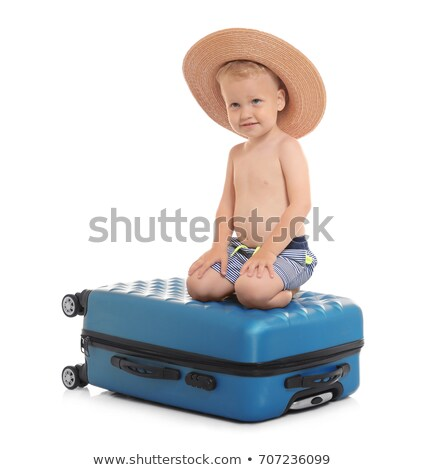 Sitting boy straw hat on white background Stock photo © michey