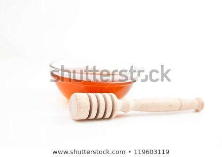 Méz tál mögött fehér háttér Stock fotó © wavebreak_media