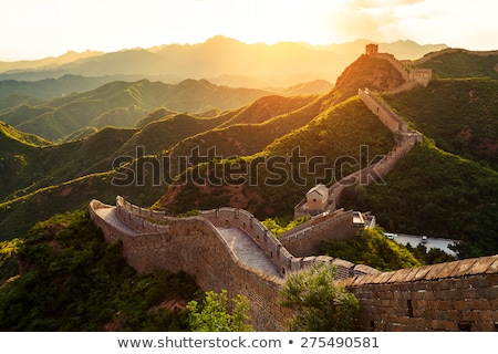 Nagy Fal Kína naplemente természet tájkép narancs Stock fotó © 5xinc