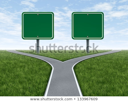 Challenges symbol with blank road sign Stock photo © Lightsource
